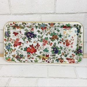 Vintage Daher Decorated Floral and Gold Metal Tray